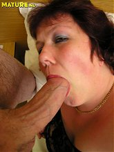 Big chubby, huge titted mature slut sucking and fucking