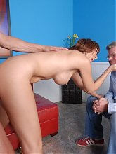 Naughty mature housewife Desi Foxx fucking a younger guy in front of her hubby live